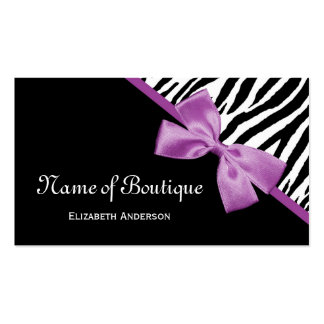 Chic Boutique Black and White Zebra Purple Ribbon Double-Sided Standard Business Cards (Pack Of 100)