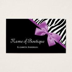 Chic Boutique Black And White Zebra Purple Ribbon Business Card at Zazzle