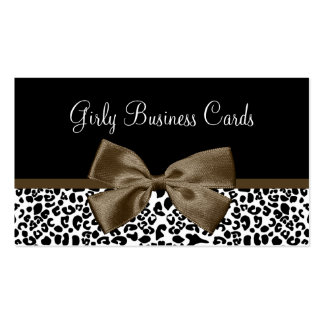 Chic Boutique Brown Ribbon Trendy Leopard Print Business Cards