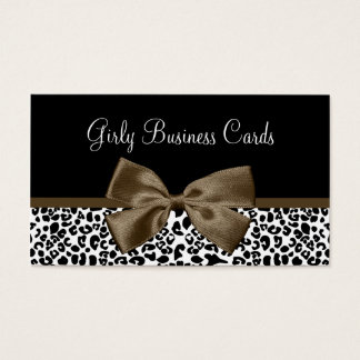 Chic Boutique Brown Ribbon Trendy Leopard Print Business Card