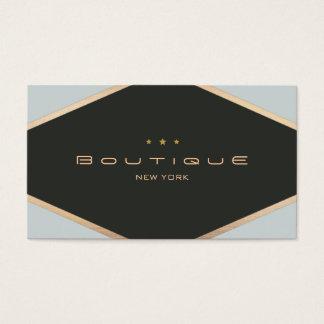 Chic Boutique Diamond Emblem Black and Gold Business Card