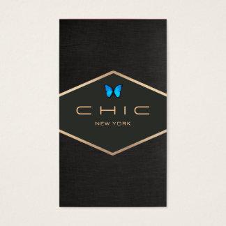 Chic Boutique Faux Black Linen Blue Butterfly Business Card