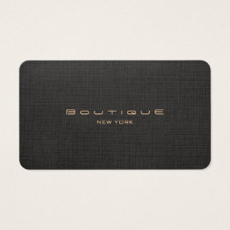 Chic Boutique Faux Black Linen Professional Unique Business Card