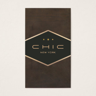 Chic Boutique Faux Brown Suede Diamond Emblem Business Card