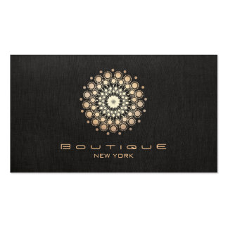 Chic Boutique Gold Circle Motif Faux  Black Linen Double-Sided Standard Business Cards (Pack Of 100)