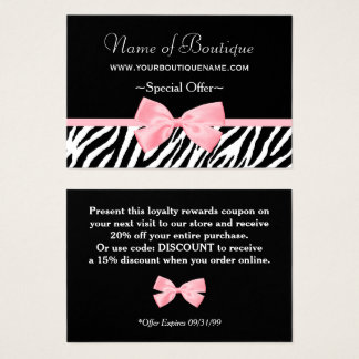 Chic Boutique Light Pink Ribbon Discount Coupon Business Card