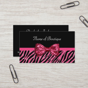 Zebra print business cards templates zazzle chic boutique pink zebra print faux glitz bow business card reheart Choice Image