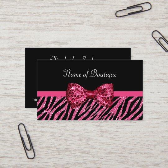 Chic Boutique Pink Zebra Print FAUX Glitz Bow Business Card