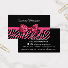 Chic Boutique Pink Zebra Print Faux Glitz Bow Business Card at Zazzle