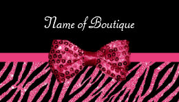 Zebra business cards 4300 zebra business card templates chic boutique pink zebra print faux glitz bow business card reheart Gallery