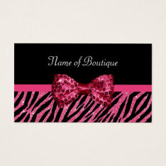 Chic Boutique Pink Zebra Print FAUX Glitz Bow Business Card at Zazzle