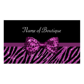 Chic Boutique Purple Glitter Zebra Print Luxe Bow Double-Sided Standard Business Cards (Pack Of 100)