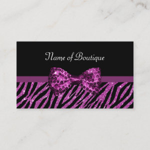 Chic Boutique Purple Zebra Print FAUX Glitz Bow Business Card