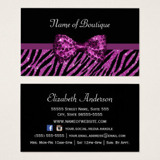 Chic zebra business cards templates zazzle chic boutique purple zebra print faux glitz bow business card reheart Images