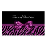 Chic Boutique Purple Zebra Print FAUX Glitz Bow Double-Sided Standard Business Cards (Pack Of 100)