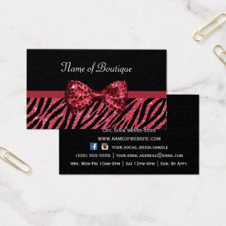 Chic Boutique Red Zebra Print FAUX Glitz Bow Business Card