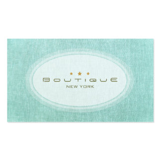 Chic Boutique Simple Turquoise Blue Linen Look Business Card Templates