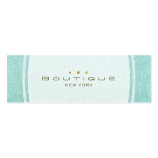 Chic Boutique Simple Turquoise Blue Linen Look Business Card Template