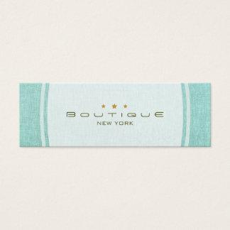 Chic Boutique Simple Turquoise Blue Linen Look Mini Business Card