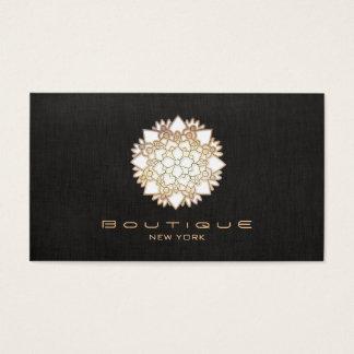 Chic Boutique White Lotus Flower Faux  Black Linen Business Card
