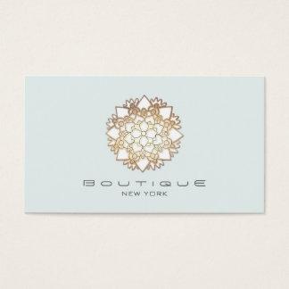 Chic Boutique White Lotus Flower Light Blue Business Card