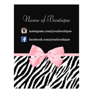 """Chic Boutique Zebra Pink Bow Promotional Marketing 8.5"""" X 11"""" Flyer"""