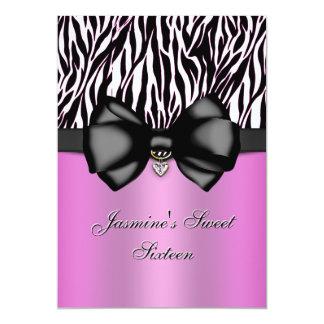 Chic Bowed Zebra Print 5 x 7 Invite [Pink]
