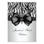 """Chic Bowed Zebra Print 5 x 7 Invite [Silver] 5"""" X 7"""" Invitation Card"""