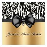Chic Bowed Zebra Print Invite [Gold]