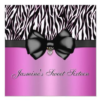 Chic Bowed Zebra Print Invite [Pink]