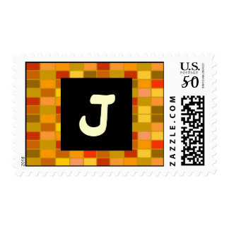 Chic Boxes Multi Colored Monogram J Postage Stamp