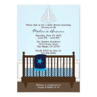 Chic Boy Blue Nursery Decor Baby Shower Invite