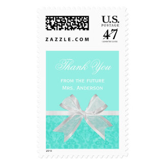 Chic Bridal Shower Thank You Aqua Damask White Bow Stamp