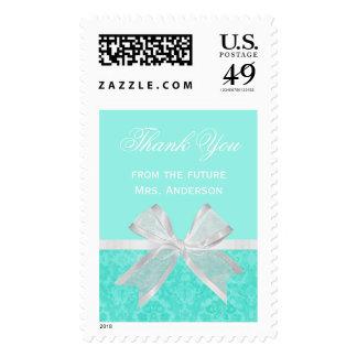 Chic Bridal Shower Thank You Aqua Damask White Bow Stamp