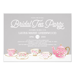 Bridal shower tea party invitations announcements zazzle chic bridal tea party bridal shower invitation filmwisefo Images