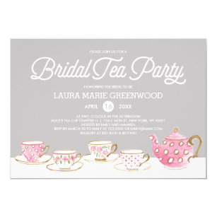 chic bridal tea party bridal shower invitation