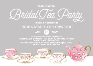 chic bridal tea party bridal shower invitation