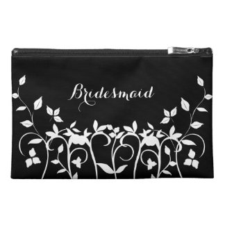 Chic Bridesmaid Cosmetic Bag - Black White Floral