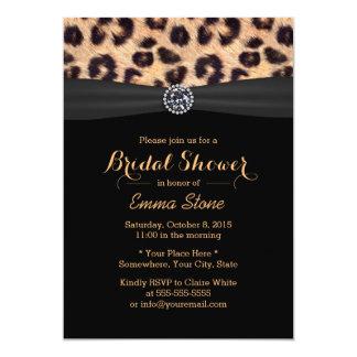 Chic Bright Diamond & Leopard Print Bridal Shower 5x7 Paper Invitation Card
