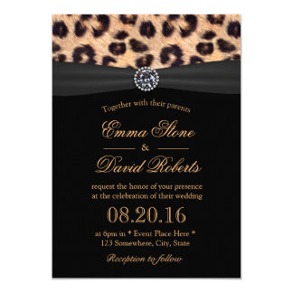 Chic Bright Diamond & Leopard Print Wedding Card