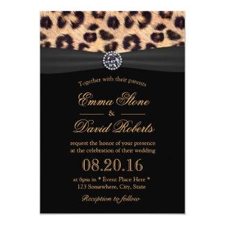 Chic Bright Diamond & Leopard Print Wedding Card