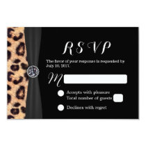 Chic Bright Diamond & Leopard Print Wedding RSVP Card