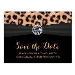 Chic Bright Diamond Leopard Wedding Save the Date Postcard