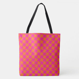 Chic Bright Orange Shocking Pink Dogtooth Pattern Tote Bag