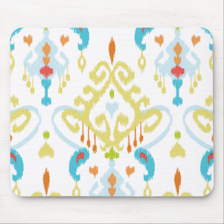 Chic bright yellow and blue tribal ikat print mouse pad