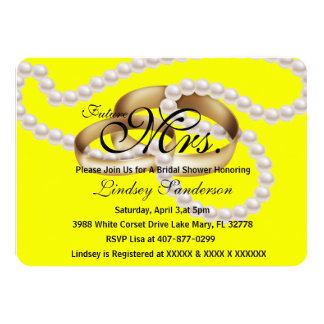 Chic Bright Yellow Rings With Pearls Bridal Invite