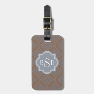 Chic brown abstract geometric pattern monogram luggage tag