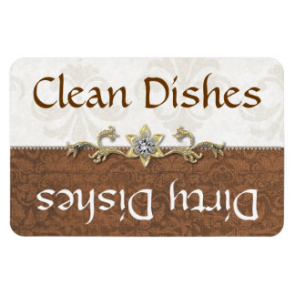 Chic Brown and Ivory Damask Dishwasher Magnet