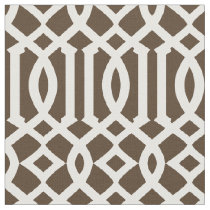 Chic Brown and White Trellis Lattice Pattern Fabric