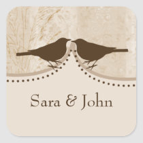 Chic brown bird cage, love birds envelope seal